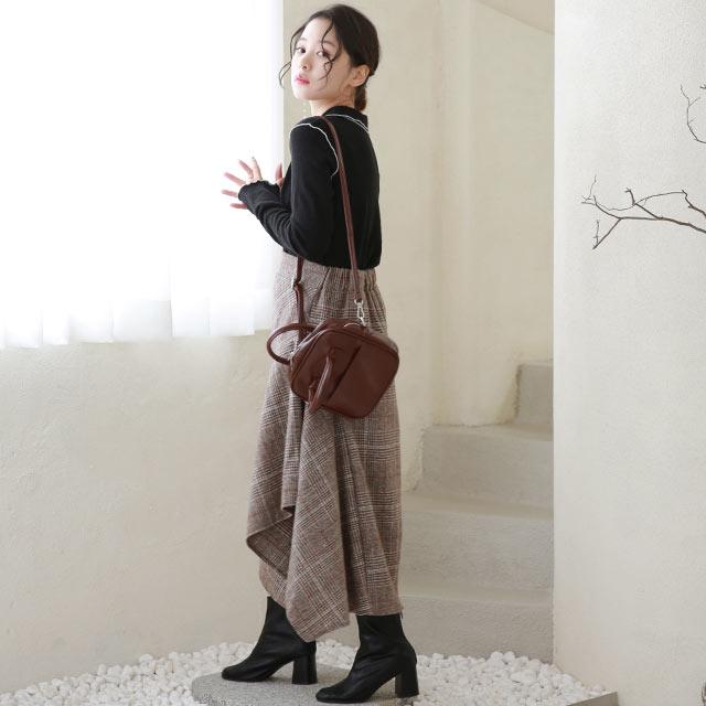 check asymmetry flare skirt[3220M]