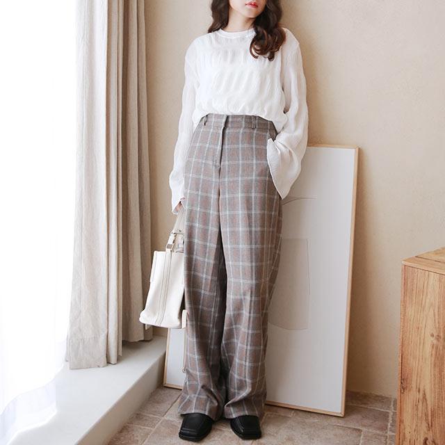 spring check pants[3255M]