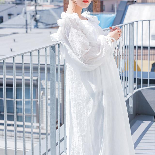 **rinko select**vintage-like cotton onepiece[336E]