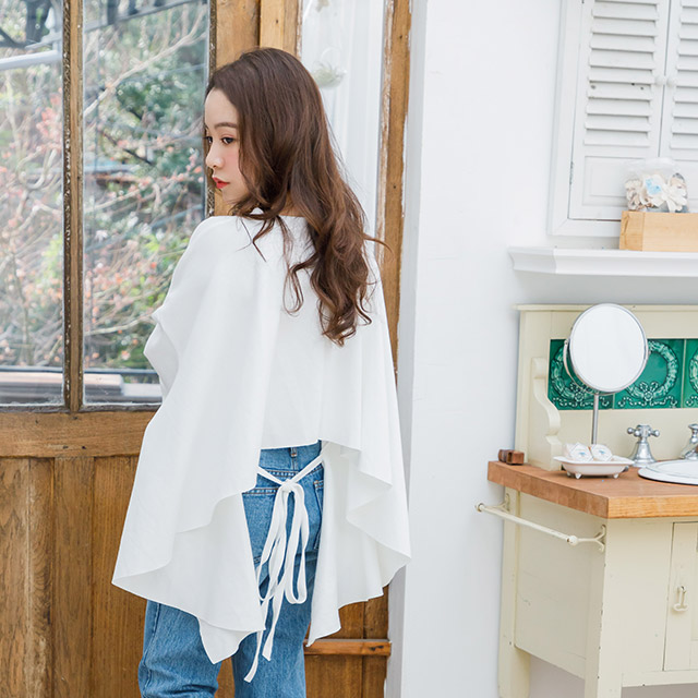 <CLEARANCE SALE>back ribbon flare tops[3700C]