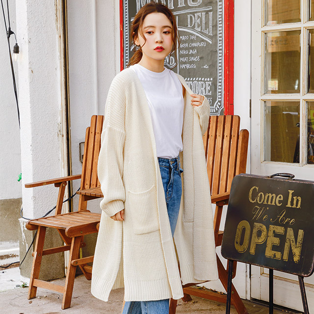 <Spring Sale>knit long cardigan[3706C]