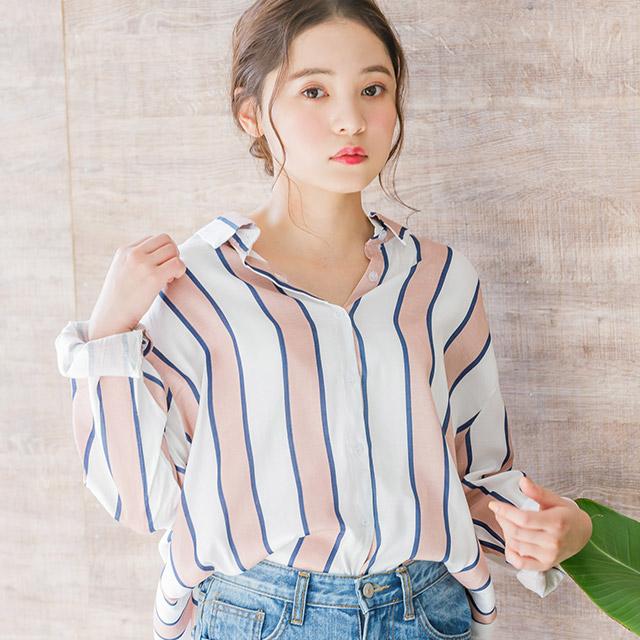 マルチストライプシャツ(全2色)[3712C]