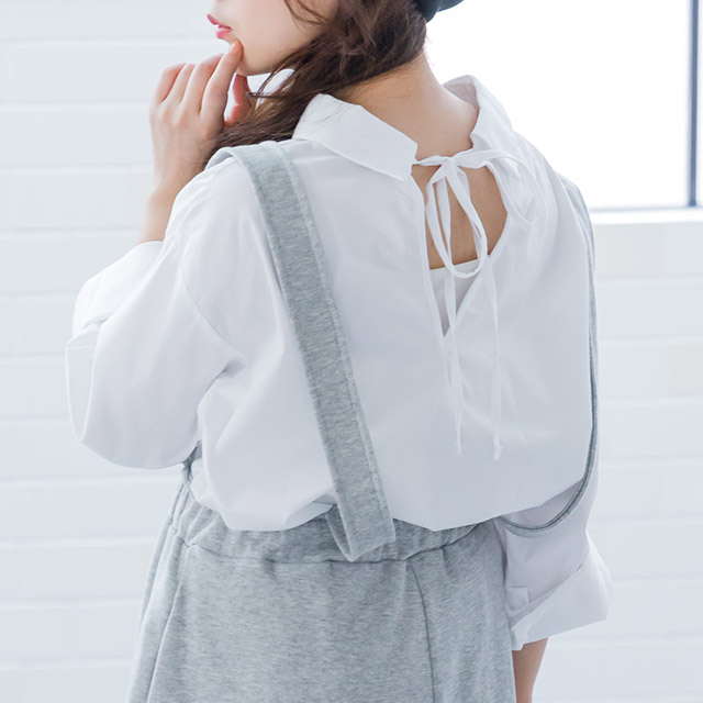 <FINAL SALE>back ribbon shirt[3714C]