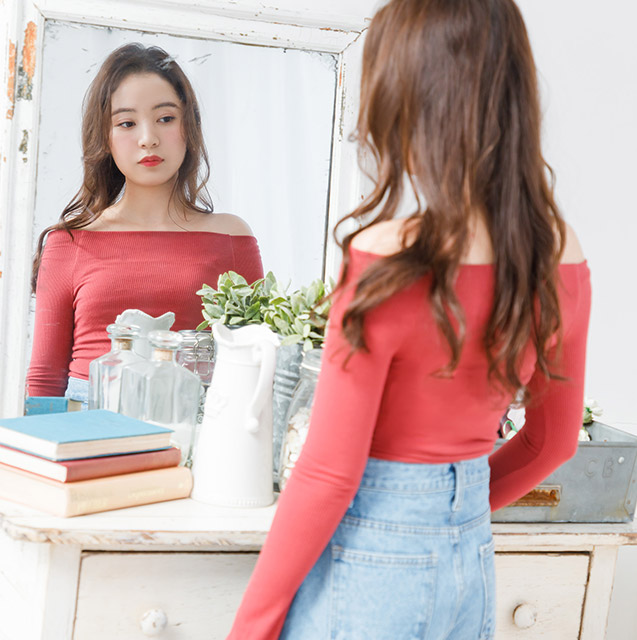 off shoulder rib tops[3715C]