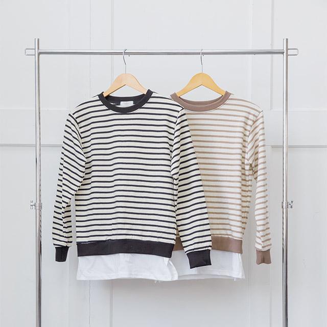 レイヤードボーダーTシャツ(全2色)[3718C]