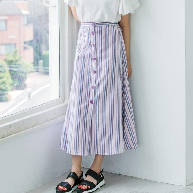 ストライプボタンスカート(全2色)[373M]【7月下旬予約】