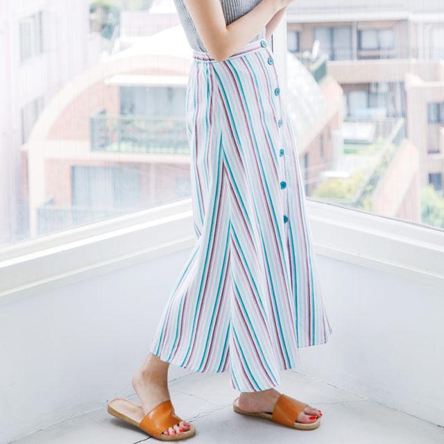 ストライプボタンスカート(全2色)[373M]