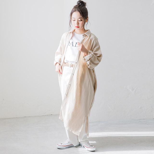 overfit linen shirt onepiece[386E]