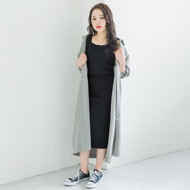 【8/12(wed)19:00〜】overfit linen shirt onepiece[386E]