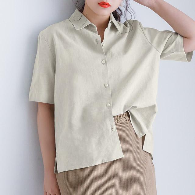 ≪青柳文子select≫ハーフスリーブシャツ(全2色)[3886C]