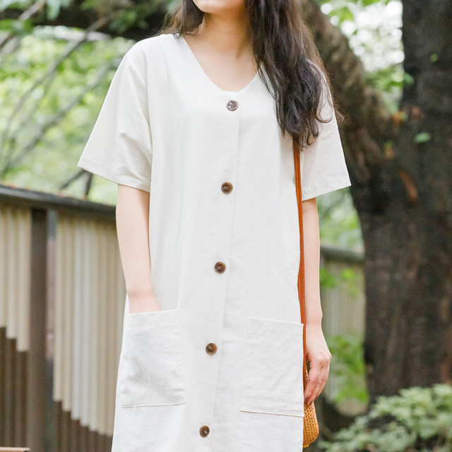 <Summer Sale!!>2 pocket straight silhouette onepiece[388E]