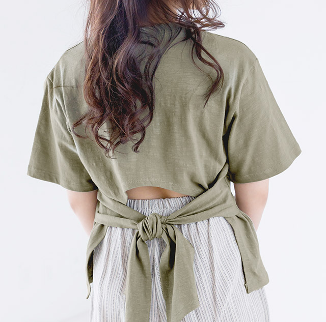 **rinko select**back ribbon t-shirt[3897C]