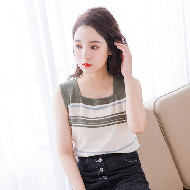 multi border sleeveless tops[3935C]