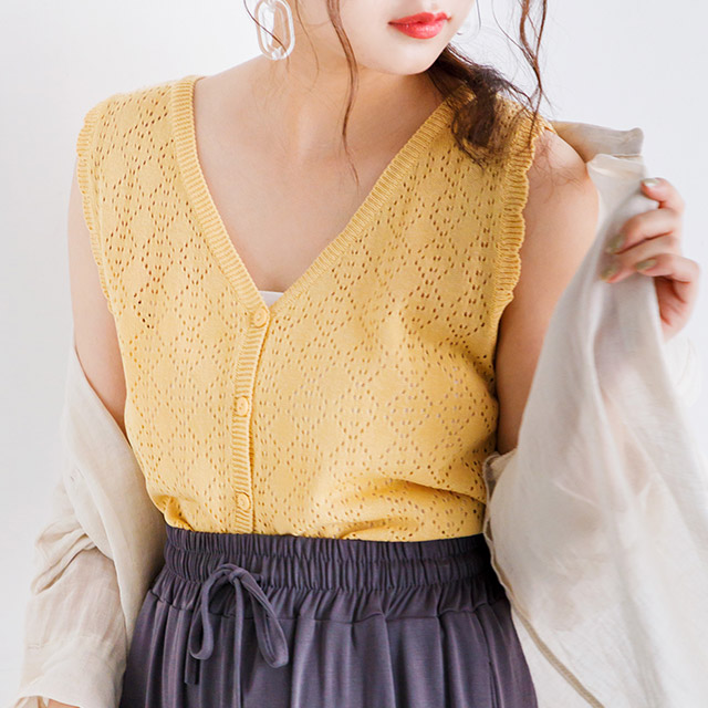 openwork V-neck sleeveless knit[3936C]