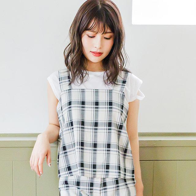 <Spring Sale>strap check pattern cami[3988C]