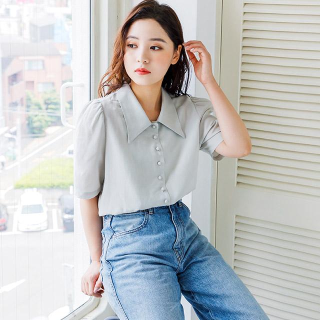 kurumi button retro blouse[3992C]