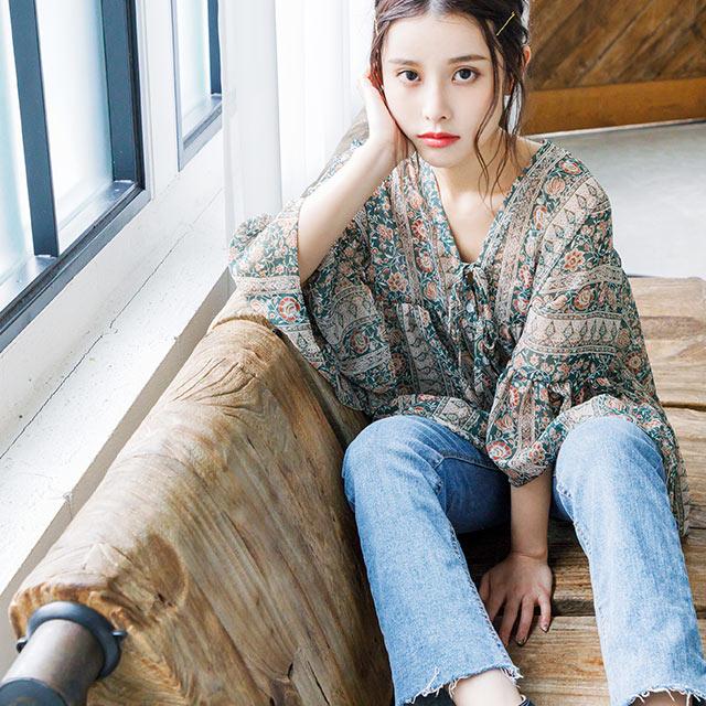 vintage flare sleeve blouse[4044C]
