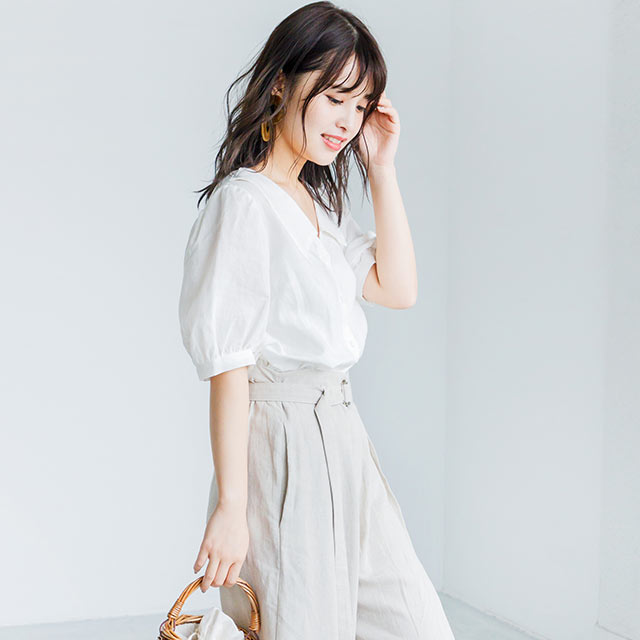 linen puff sleeve blouse[4050C]