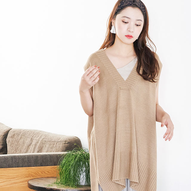 deep v knit long vest[4081C]