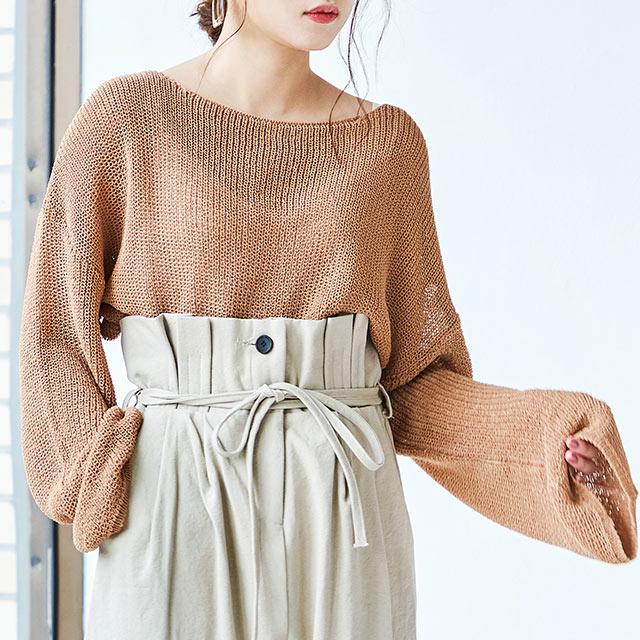 boat neck loose knit [4084C]