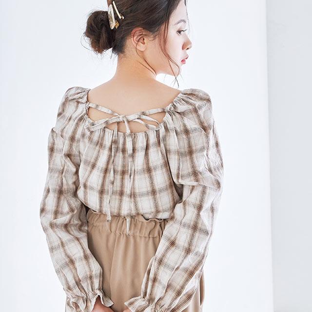 back ribbon check blouse[4085c]