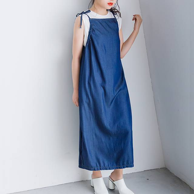 <Summer Sale!!>denim style drost cami onepiece[408e]