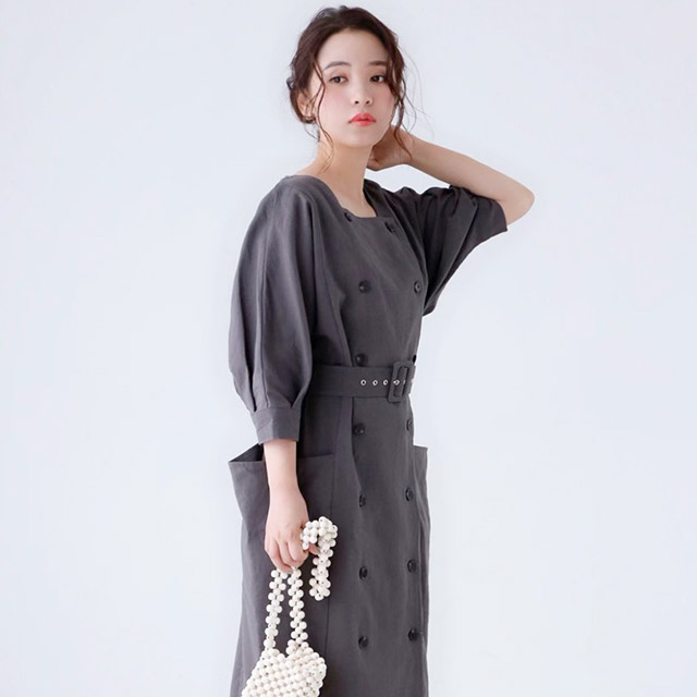 square neck onepoiece with belt[411E]