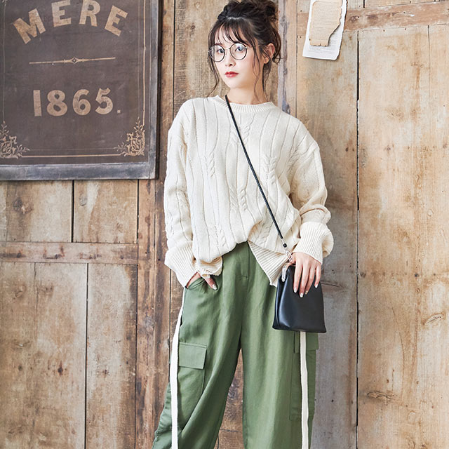 **rinko select**back ribbon crew neck cable knit[4138C]