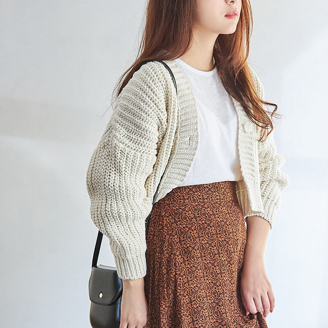<Spring Sale>zakkuri short knit cardigan[4140C]