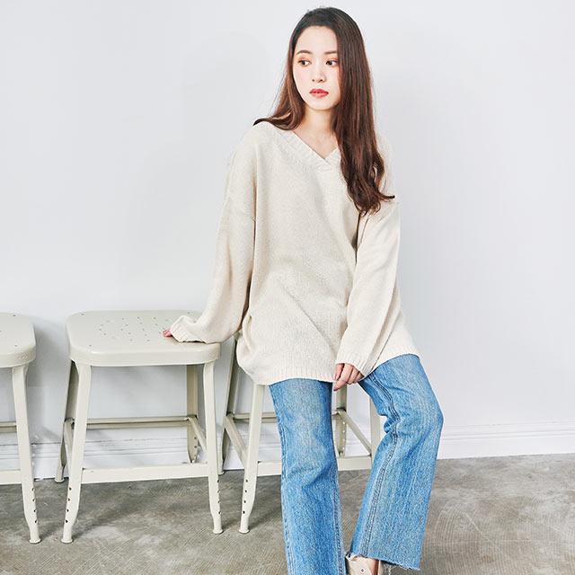 waistmark v-neck knit[4141C]
