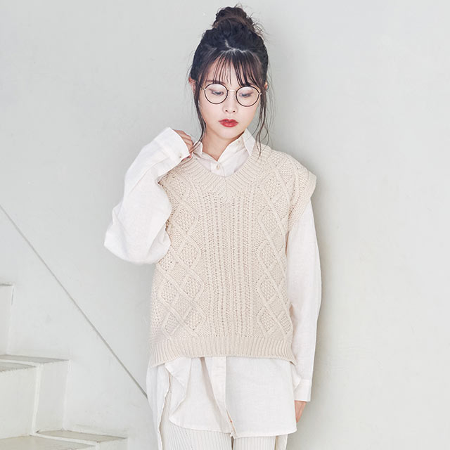 <WINTER SALE>cable knit vest[4142C]