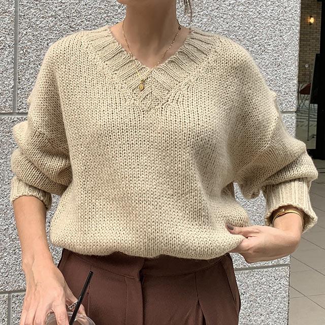 low gauge v-neck knit[4150C]