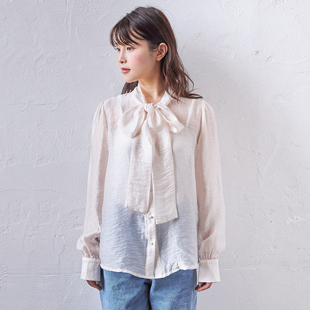 <CLEARANCE SALE>see-through bow tie blouse[4152C]