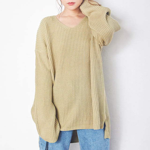 azeami v-neck loose knit[4154C]