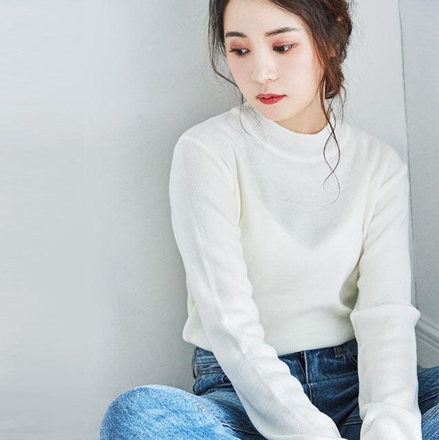 basic crew neck knit[4156C]