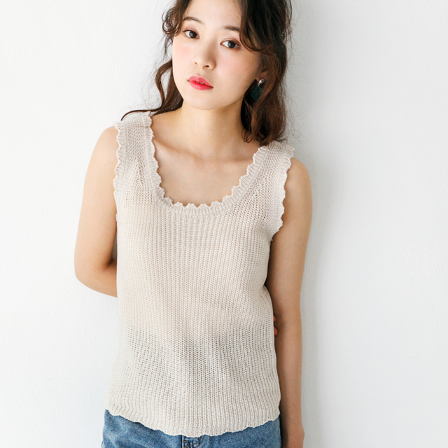 scalloped neck knit tops [419C]