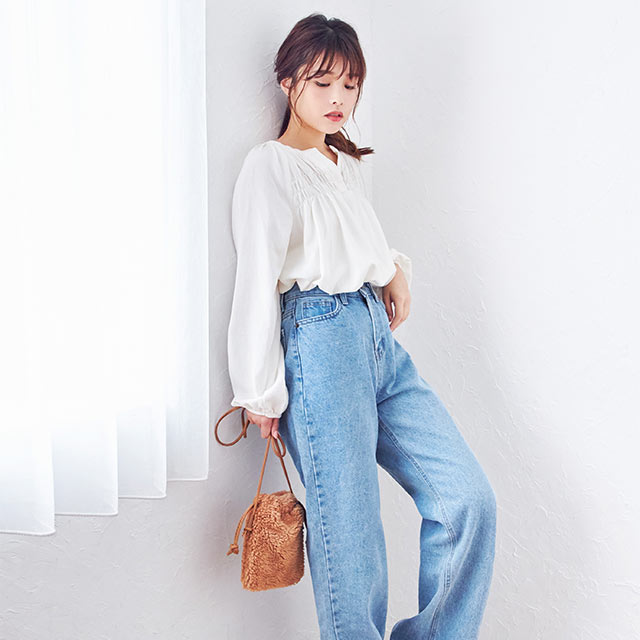 york gather blouse[4230C]