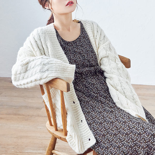 big cable cardigan [4233C]