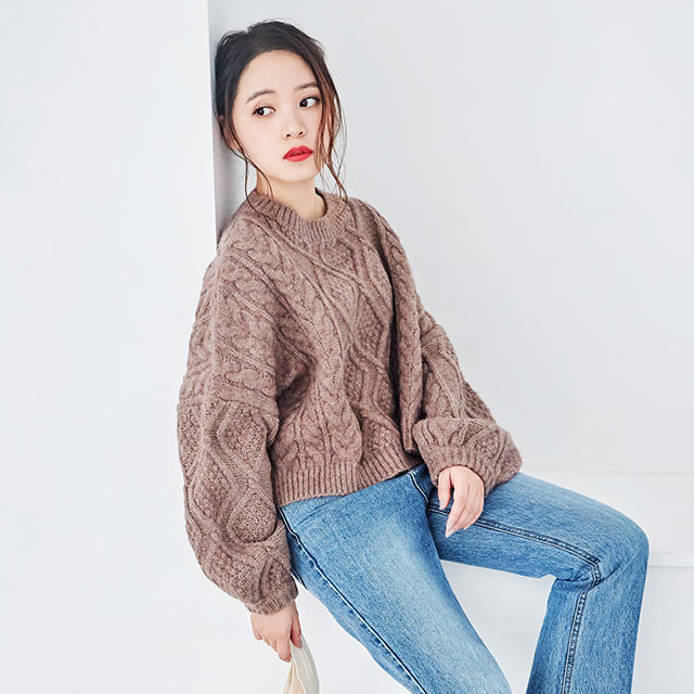 **rinko select**balloon sleeve cable knit[4349C]