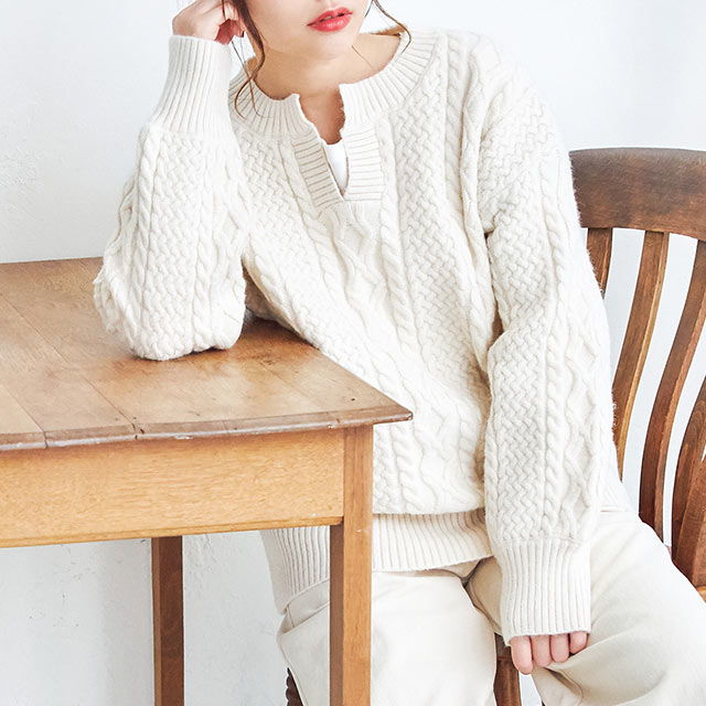 relax cable knit[4355C]