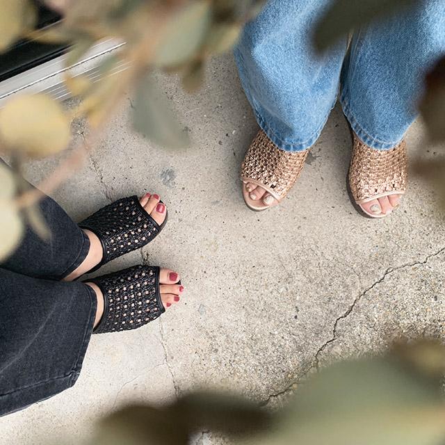 openwork wedge sandals[445I]