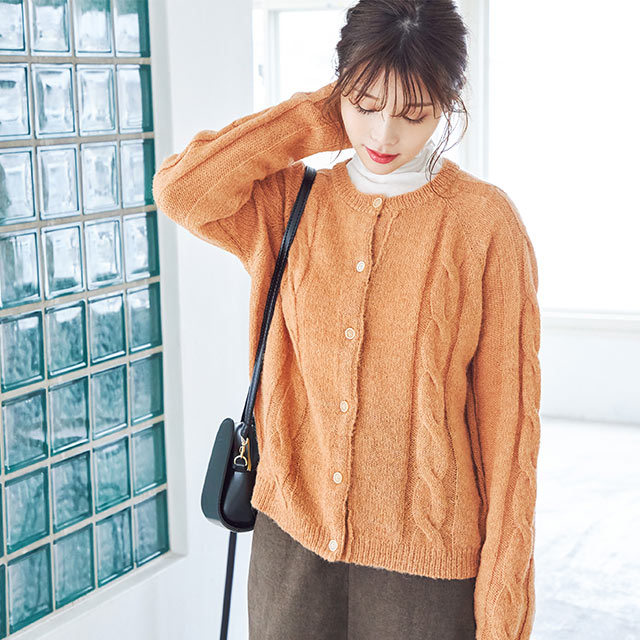 cable knit cardigan[4507C]
