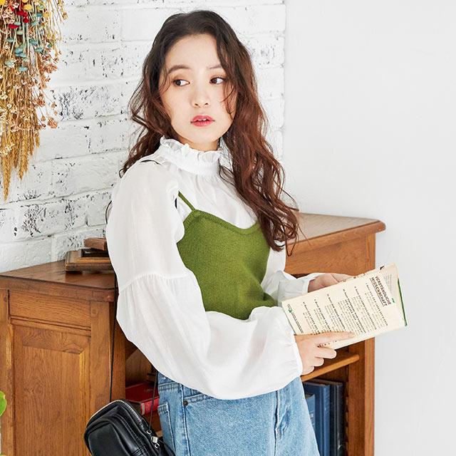 petite high neck sheer blouse[4513C]