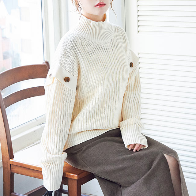button point sleeve knit[4516C]