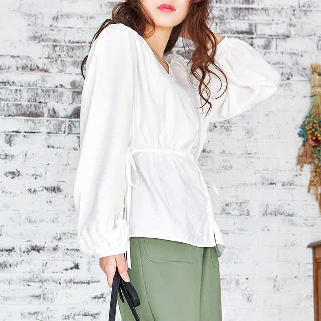 side gather blouse[4555C]