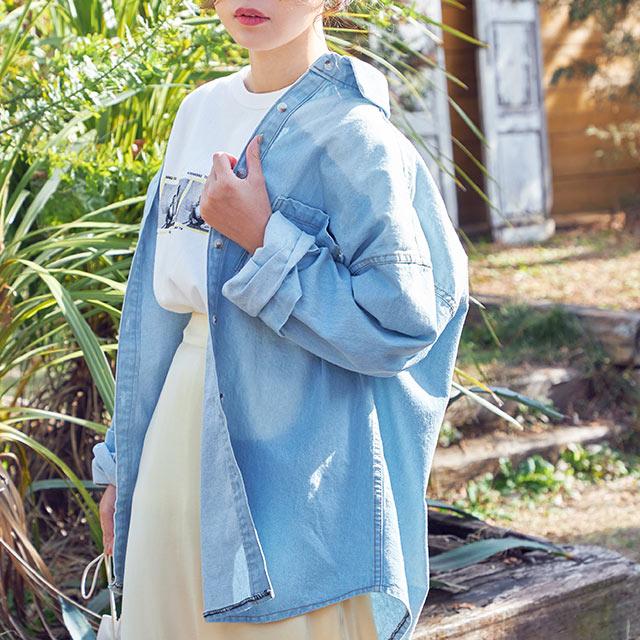 vintage like denim shirt[4566C]
