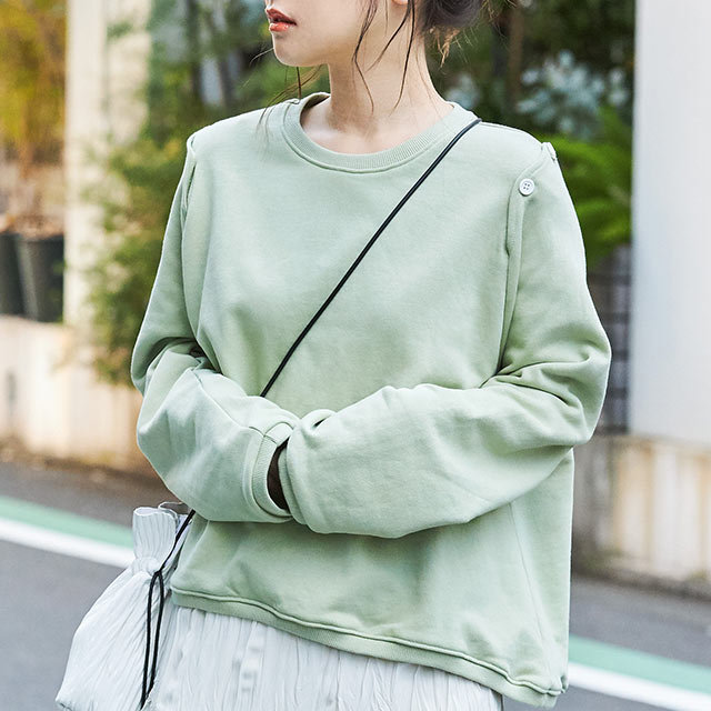 button design sweatshirt[4575C]