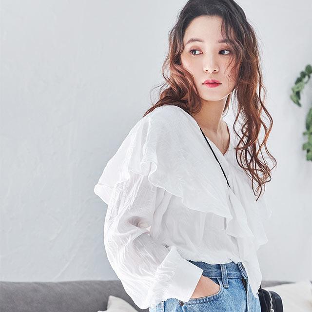 ruffle collar blouse[4576C]