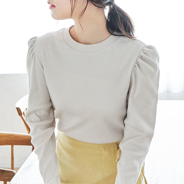 puff sleeve rib tops[4600C]