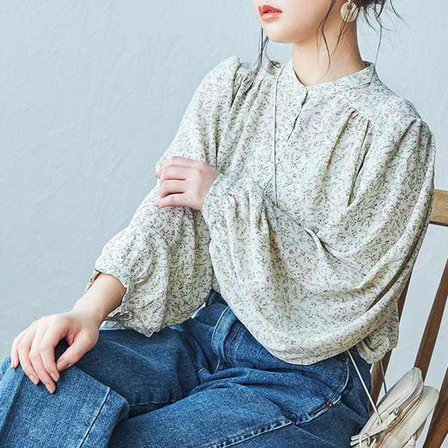 retro flower blouse[4617C]